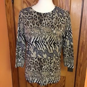 Vintage 90s safari leopards n zebras comfy top